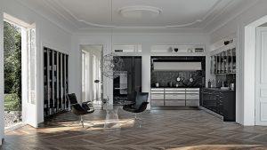 VÝRAZNÁ GRAFITOVÁ BARVA a kovový lesk charakterizují kuchyni SieMatic BeauxArts2 SE2002BAL. Barva Graphite Grey v laku s vysokým leskem, nerezové zásuvky, chromové rámy horních skříněk a vitrín, pracovní deska a obklad stěny jsou z mramoru. STOPKA, www.stopka.cz