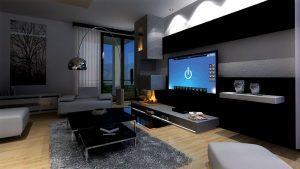 Obývací pokoj ovládaný systémem iNELS. Jedním dotykem na iPadu nebo chytrém telefonu můžete ovládat celou domácnost z pohodlí vašeho křesla. iNELS