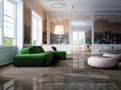 LUXUSNÍ VZHLED dává podlaze v obývacím pokoji dlažba ze série Prestigio v barvě Pulpis od italského výrobce Refin Ceramiche. Produkt je k dispozici v různých formátech, cena od 2 348 Kč/m2. AKUBRA TRADE, www.akubratrade.cz
