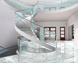 REPREZENTAČNÍ HALU s galerií spojuje skleněné točité schodiště doplněné zábradlím z leštěné oceli. Uchyceno je do kovových úchytů a dělicích sloupků. Cena je 50 000 Kč/bm. SAN SOUCI GLASS DECO, www.sanssouciint.com