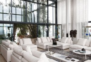 Sofa by Antonio Citterio for Flexform, coffee tables unknown. In the back passageway to the olive grove of the penthouse.