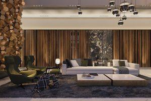 Pro interiér vily byly zvoleny převážně teplé tóny. Nábytek, doplňky a materiály jsou ve špičkové kvalitě, významné zastoupení tu mají italské značky. Zelené křeslo Metropolitan´14 navrhl Jefrey Bernett pro B&B Italia.