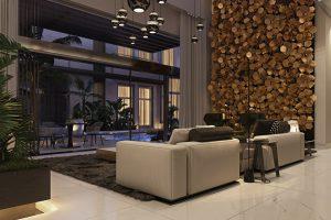 Dominantou obývacího pokoje je originální stěna osazená mosaznými plátky v podobě šestiúhelníků, které mají podobu okvětních lístků a ve 3D efektu tvoří nespočet květů. Způsob ztvárnění patří ke know-how vizualizátorky.