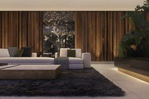 Šarm dodává interiéru mramorový panel, který je dekorativní součástí posuvných prosklených stěn, umožňujících přímý vstup na terasu. Sedací souprava SOFA YANG a konferenční stůl LIFE jsou z produkce italské nábytkářské jedničky Minotti.