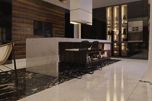Kombinace bílé mramorové podlahy s tmavým žilkovaným pásem a dřevěným obložením skvěle ladí s luxusní kuchyní značky Poliform.