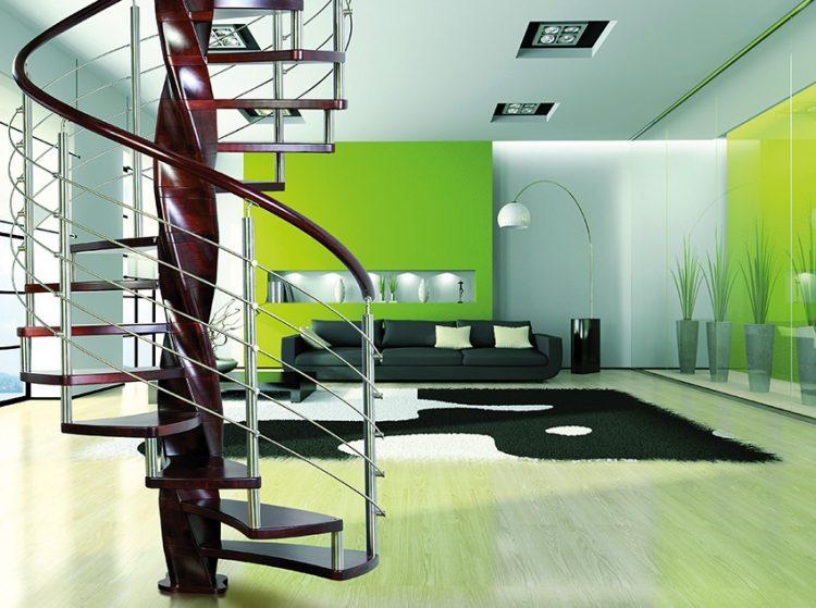Exkluzivní točité schodiště Tango se středovým sloupem ve tvaru dvoušroubovice a stupni z masivního dřeva. Nerezové zábradlí doplňuje dřevěné madlo. Cena od 66 700 Kč/metr výšky. J.A.P.