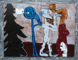 BIBLICKÉ TÉMA zpracoval Ladislav Klusáček na již tradiční zadání Galerie La Femme nazvané Domácí úkoly. Autor patří k nepřehlédnutelným současným českým malířům. V jeho rozsáhlém díle nás zaujme neutuchající humor, s kterým většinou nahlíží na odvěkou konfrontaci mezi mužem a ženou. Veliké očekávání, akryl, 91 x 122 cm, 77 000 Kč. GALERIE LA FEMME, Praha 1, tel: 224 81 26 56, 775 72 60 67, www.glf.cz