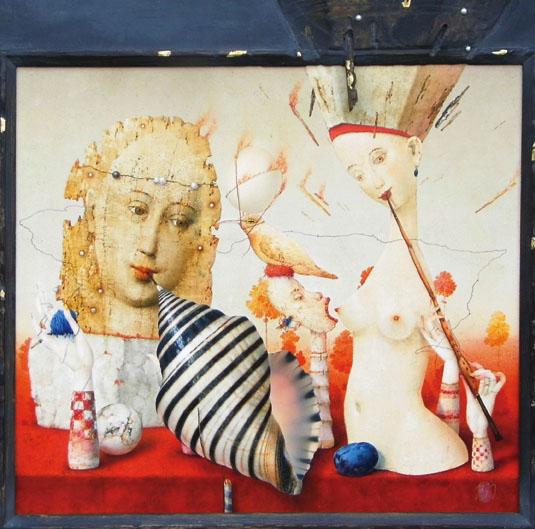 ALEGORICKÉ DIVADLO, tak by se dal charakterizovat první dojem  z obrazových zátiší Zdeňka Jandy. Dvě báje, kombinovaná technika, 98 x105 cm, 260 000 Kč. GALERIE LA FEMME 1, Praha, tel.: 224 812 656,  www.glf.cz