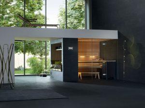 Saunu LOUNGE Q je možné individuálně přizpůsobit podle prostorových možností. Varianta s proskleným průčelím je připojena na kamennou zeď a vytváří pocit dobré pohody. Cena 400 000 Kč. AQUAMARINE SPA, www.aquamarinespa.cz