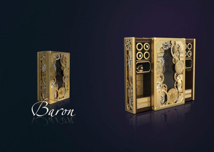 BARON navržený ve viktoriánském futuristickém stylu, inspirován tradiční švýcarskou hodinářskou technikou. Materiál a povrchová úprava: palisandr, mosaz se zlatem, chromované. Rozměry: 102 x 170 cm, hloubka 45cm. Cena 59 160 Eur