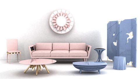 MRAMOROVÁ KRUHOVÁ deska v pastelovém růžovém tónu, podporovaná podnoží z leštěné mědi, tvoří jedinečný stolek Amber o průměru 110 cm a výšce 35 cm. Efekt vodorovných lamel využívá bleděmodrý stolek Accum. V pozadí zástěna Hurricane z lakovaného dřeva, čtyři panely spojují leštěné mosazné panty.  BITANGRA, www.bitangra.com