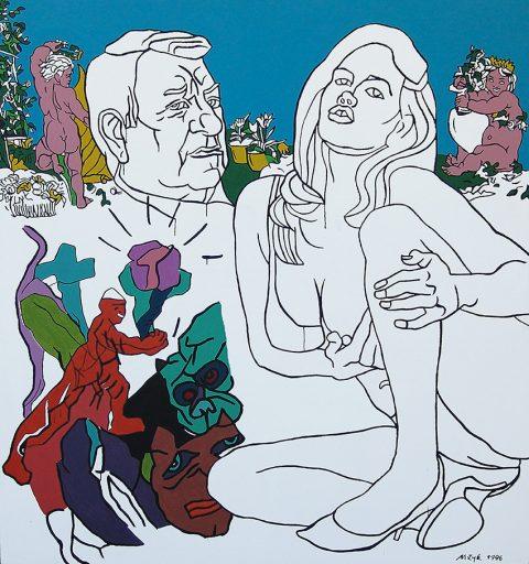 NADHLED NAD LIDSKÝM HEMŽENÍM a výtvarná nadsázka jsou charakteristické pro akademického malíře Josefa Mžyka. Ve své tvorbě uplatňuje několik výrazových i technických přístupů – emotivní, dynamickou štětcovou malbu a proti ní plošné kompozice se silným dekorativním účinkem, charakteristické hlavně pro tisky, litografie a serigrafie. V zahradě rozkoší, 1996, akryl, plátno, 193 × 180 cm. Cena 350 000 Kč. Galerie Peron, www.peron.cz